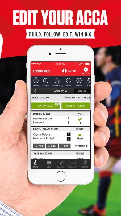 Acca in mobile app Ladbrokes